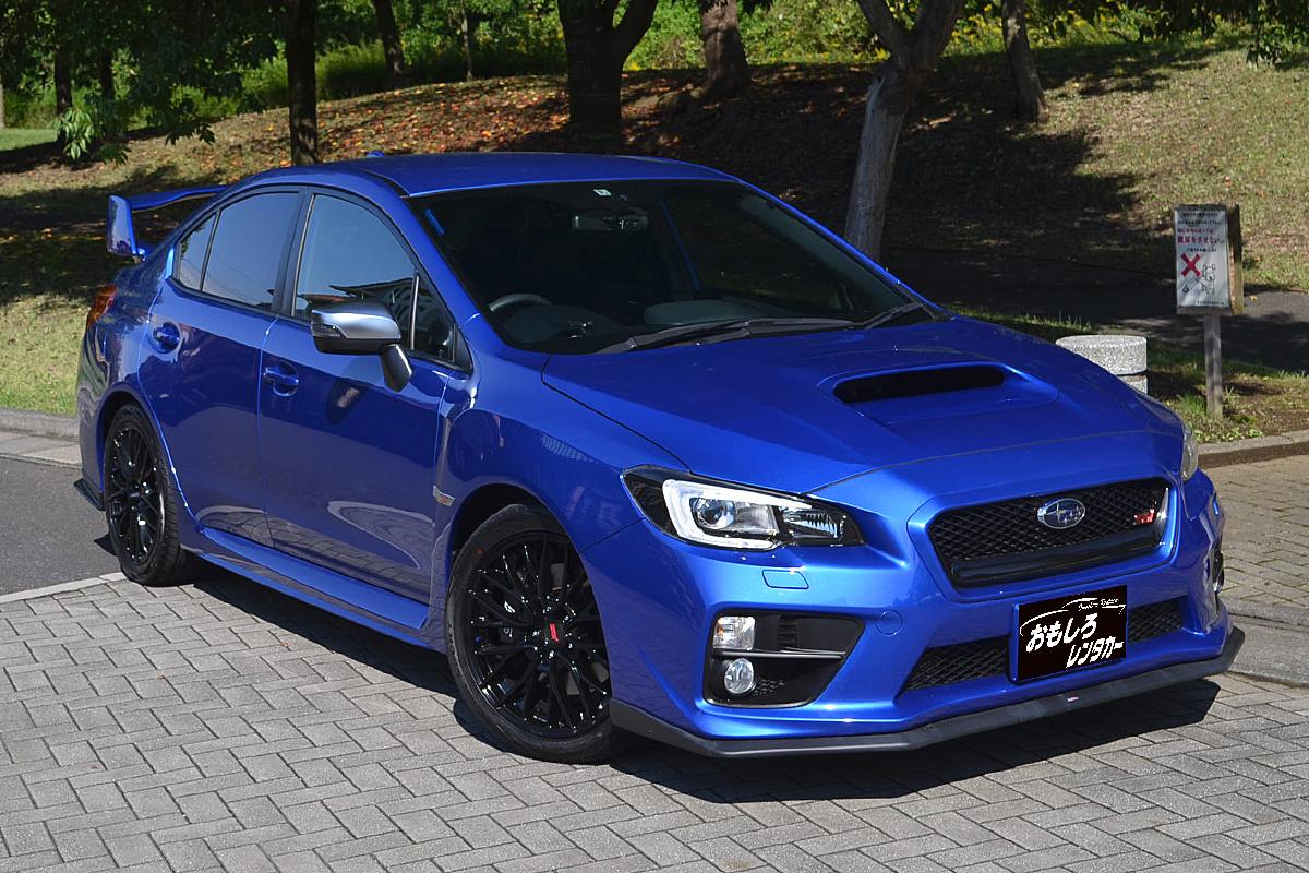 wrx sti blue sports car open car specialized for rental cars
